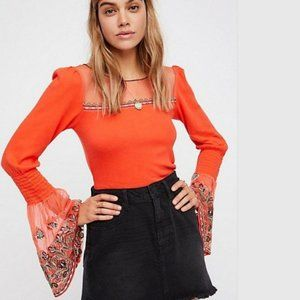 Free People Vibrant High Tides Bell Sleeve Blouse